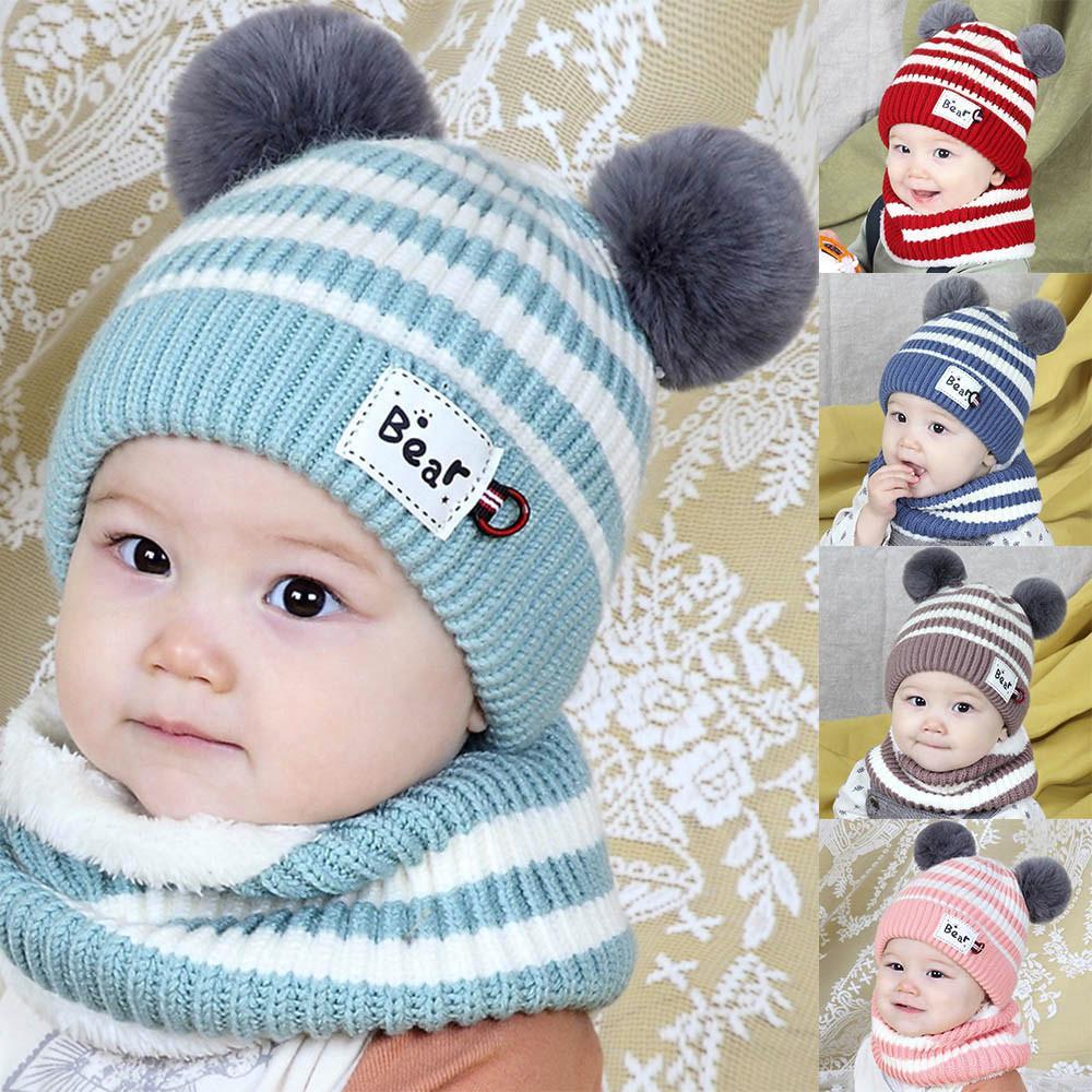 Winter Kids Fox Ears Handmade Beanie Hat Scarf Sets For 1~10 Year Old  Children Girls Scarves  6 Women Hats Cool Beanies From Watcheshomie 27dcd7a8314