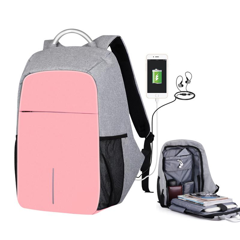 72e0c59a7ba2 Women External Usb Charge Backpack Canvas Anti Theft Backpack Male Mochila  Escolar Girls Laptop 15.6 School Backpack For Teens