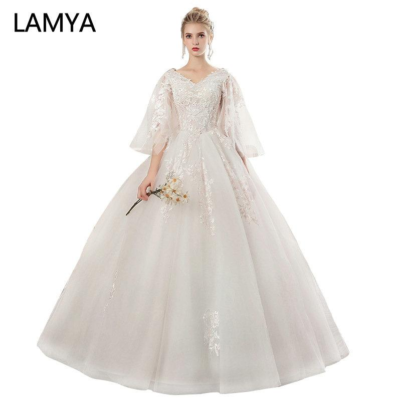 Wholesale 2019 New Lace Three Quarter Lantern Sleeve Wedding Dresses ... 97524f786c79