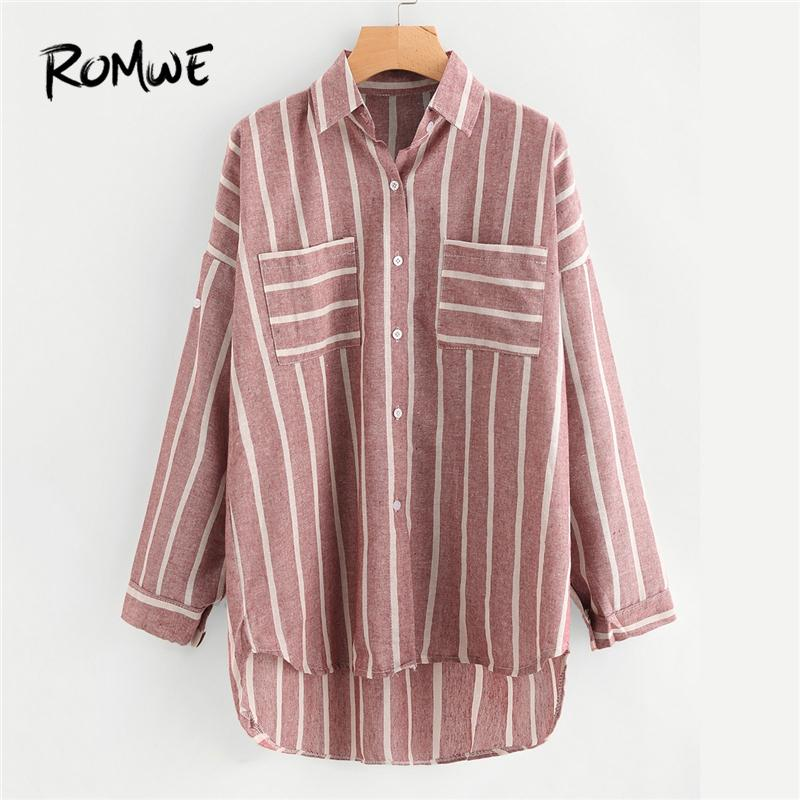 6f434755d 2019 Romwe Stripe Red Hi Lo Shirt Chest Pocket Button Up Blouse ...