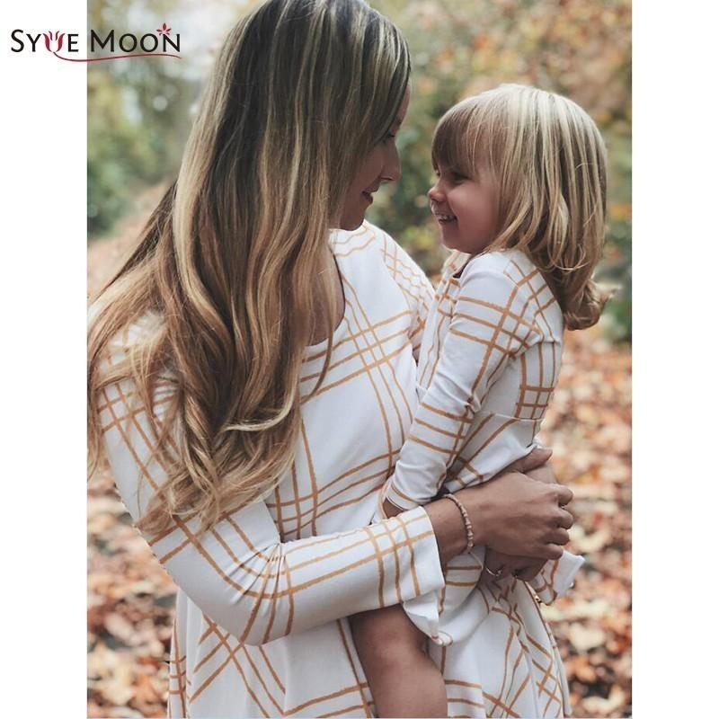 Mother Daughter Dresses Family Matching Outfits Long Sleeve Stripe Family Look Matching Clothes Mom And Daughter Dress Y190523