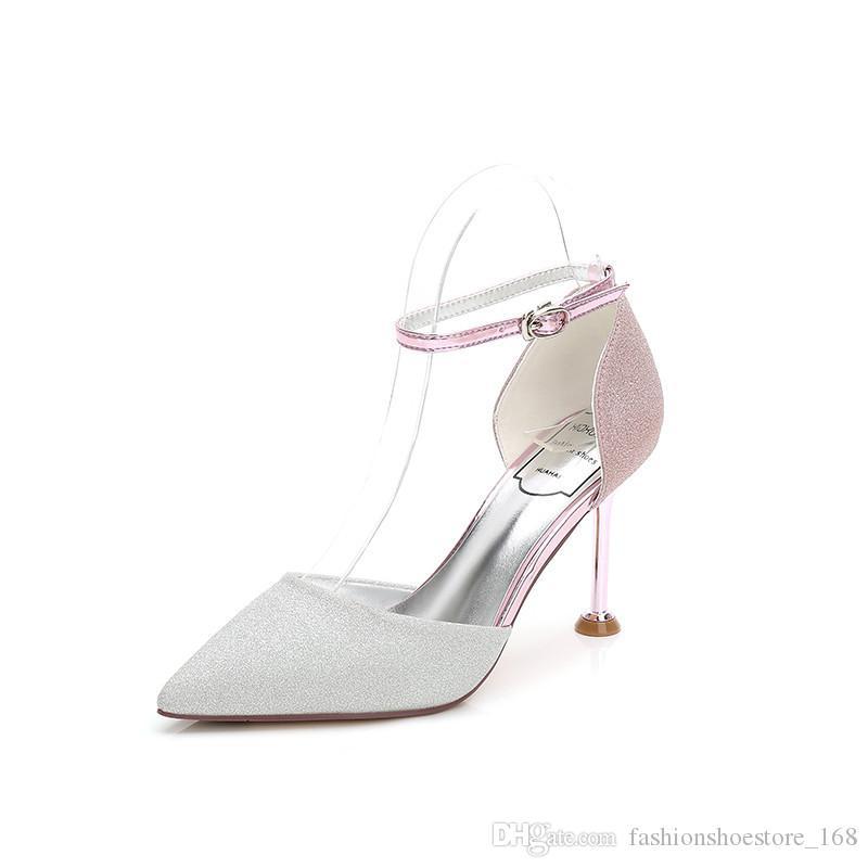 9f5681eea2 Compre Mulher Sandálias Meninas Casamento De Salto Alto Glitter Stiletto  Fivela Tira No Tornozelo Mulheres Apontou Sapatos De Noiva Salto Fino  Senhoras ...