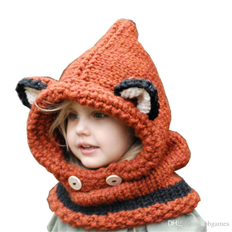 875e7051b96 Kids Fox Hat Knitted Hats Kids Boys Girls Scarves Fashion Unisex ...
