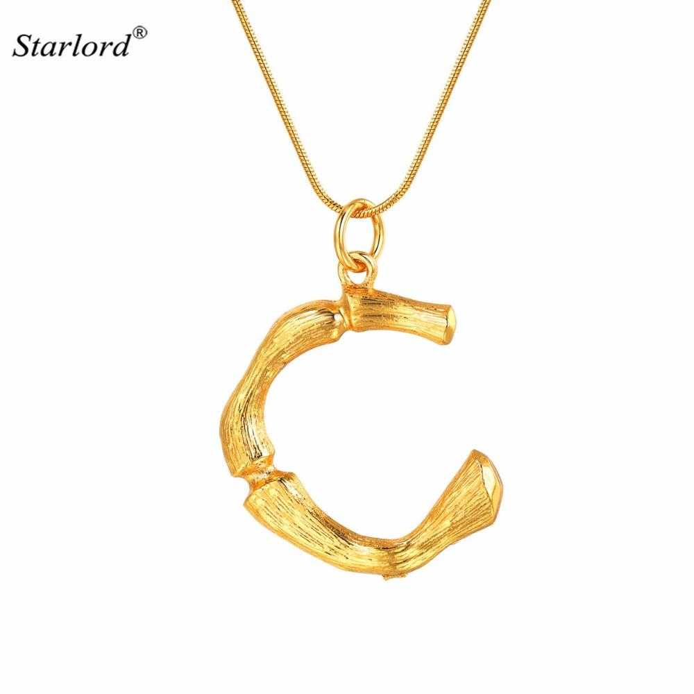 Bamboo Initial Letter C Necklace Gold 26 Alphabet Jewelry Personalized Gift Statement Big Letter Charm For Women Men P9076