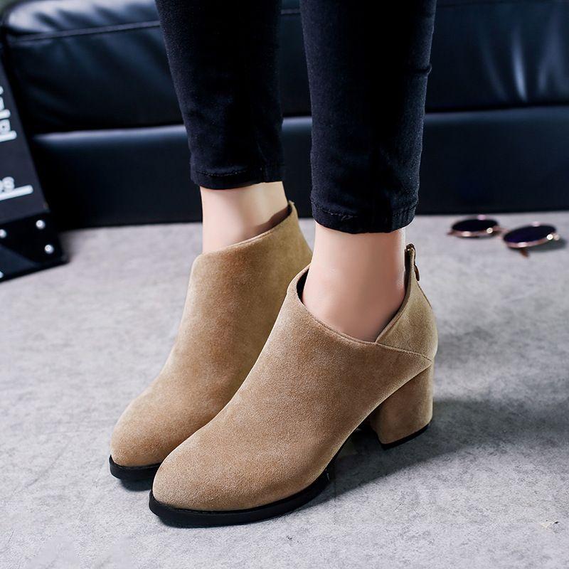 22c05803386d3 2018 Women High Heels Plus Size Concise Thick Heel Shoes For Woman Fashion Zipper  Block Heel Female Elegant Casual Footwear Black Knee High Boots Chukka ...