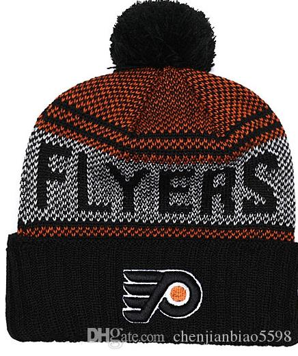 faae348d6a6 Philadelphia Flyers Snapback Caps Embroidery Ice Hockey Knit Beanies  Adjustable Hat Black Orange White Stitched Hats One Size For All Crochet  Beanie Beanies ...