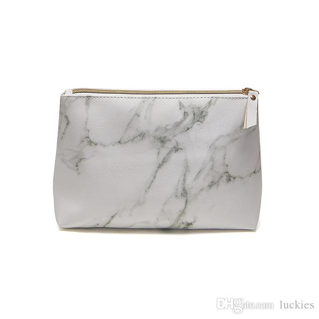 3cafe5980177 Marble Cosmetic Makeup Bag Brush Holder Travel Storage Case Portable  Toiletry Pouch Coin Purse with Gold Zipper for Women