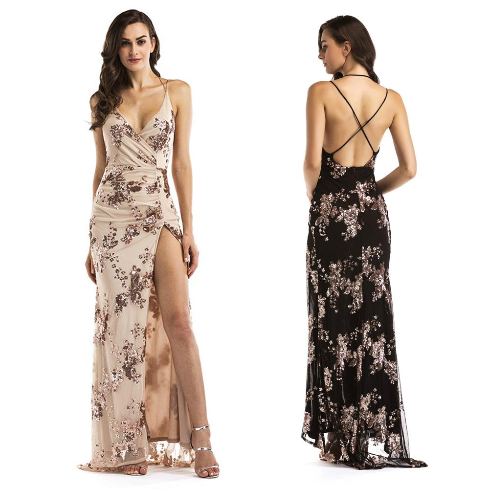 01ef675650448f 2019 Prom Dresses Sexy Deep V Neck Sequins Tulle And Lace Sex High Split Long  Evening Dress Ladies Summer Cocktail Party Dresses From Gogoyoung, ...