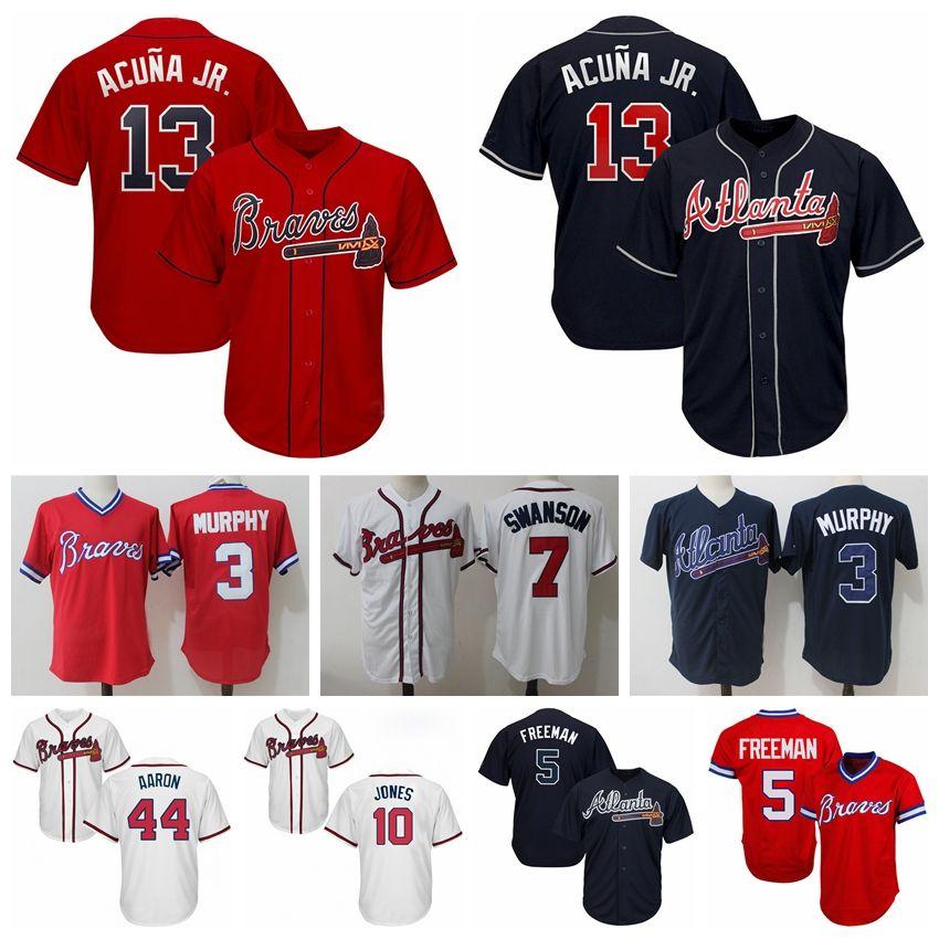 7fe995f310b Compre 44 Camiseta Hank Aaron 13 Ronald Acuna Jr Atlanta 2019 Hombres Braves  5 Freddie Freeman 3 Dale Murphy Chipper Jones Camisetas De Béisbol A  32.43  Del ...