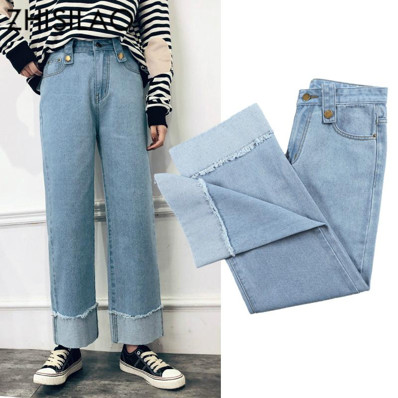 8efdbe96465f8 2019 Wide Leg Denim Pants Vintage Blue Mom Jeans Plus Size Boyfriends Women  Jeans Casual Retro Loose White Summer Spring 2019 From Pingpo