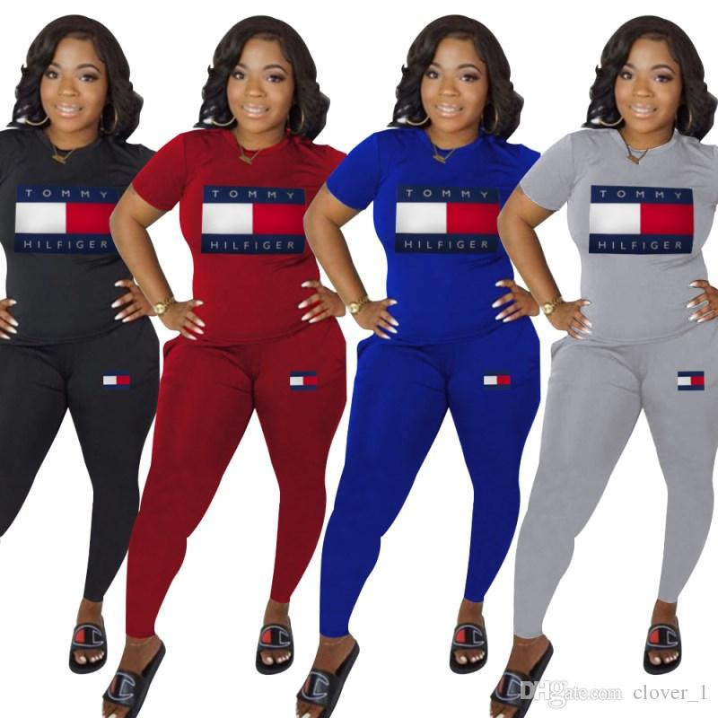 women 2 piece set tracksuit shirt pants outfits short sleeve sportswear shirt trousers sweatsuit pullover tights sportswear klw1326