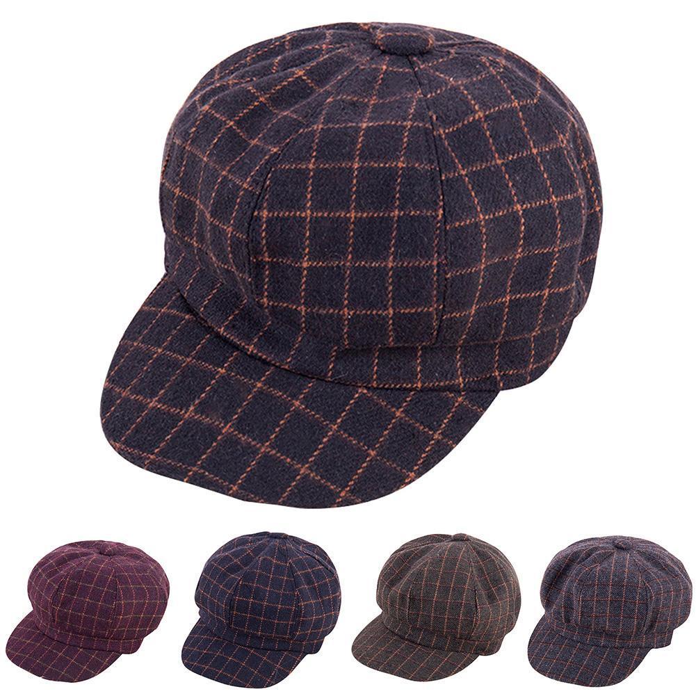 a29ccaf6edc0f Compre Moda Masculina Mulheres Algodão Malha Estilo Plano Eaves Hat Boina  Octagonal De Naughtie