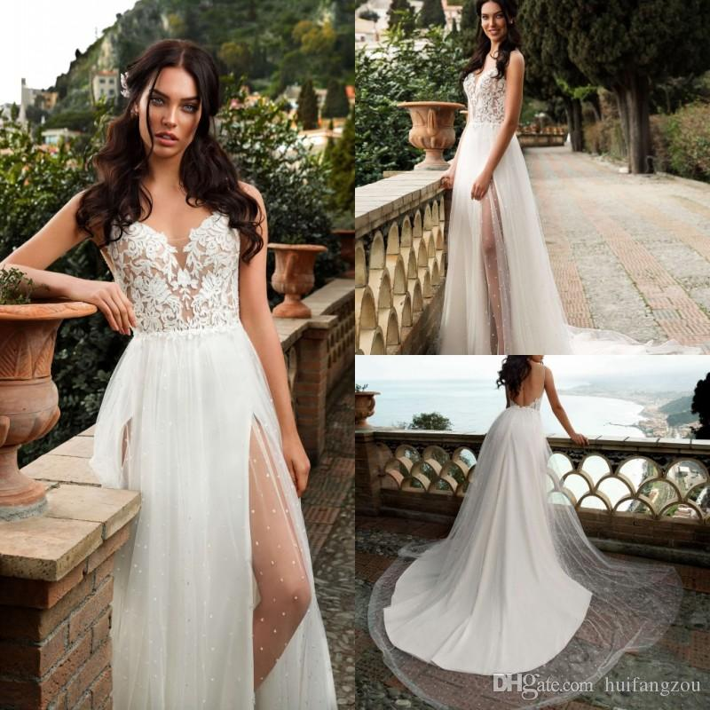 8322331f1bb Discount 2019 Spaghetti Straps Wedding Dresses Thigh High Slits Summer Boho Wedding  Dress Innocentia Backless Beach Bridal Gowns Robe De Mariée Bridal ...