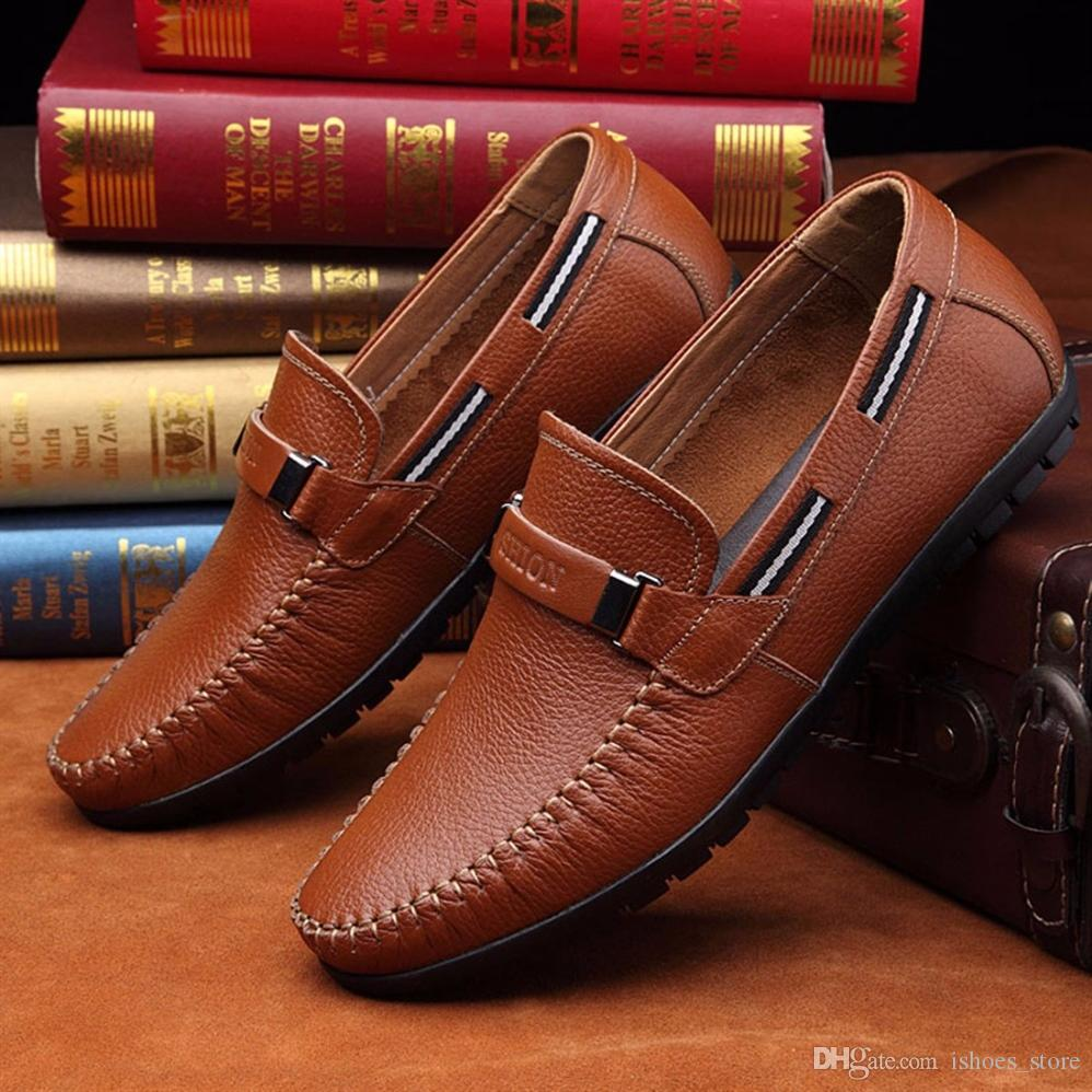 9f56b6bccb3f Big Size Cow Leather Men Loafers Driving Boat Shoes Fashion Mens Moccasins  Chaussure Homme Soft Sole Men Leather Casual Shoes  6939 Brown Shoes Formal  Shoes ...