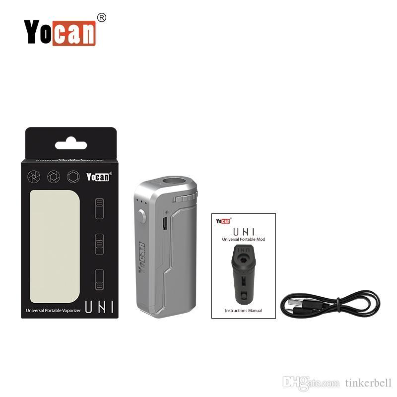 Autentico Box Yocan UNI Mod Preriscaldare VV Vape regolabile Tensione Pen con 650mAh Batteria tutti 510 510 Adattatore cartuccia d'olio