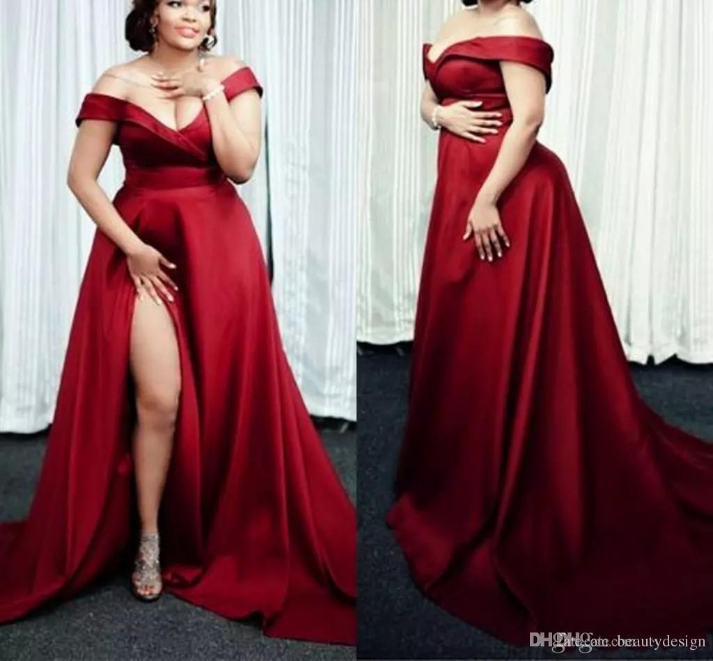 Grande De Y Rojo Fuera Compre Talla Oscuro Vestidos 2019 Noche wnmO80vN