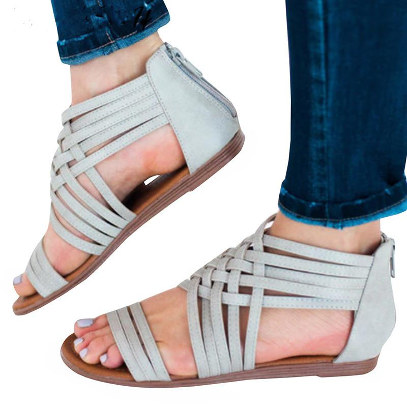 bed89e7a7 EOEODOIT 2019 Summer Casual Brief Sandals Flat Heel Beach Sand Open Toe  Back Zip Shoes Women Leather Plus Size 42 43 Knee High Gladiator Sandals  Sandals For ...