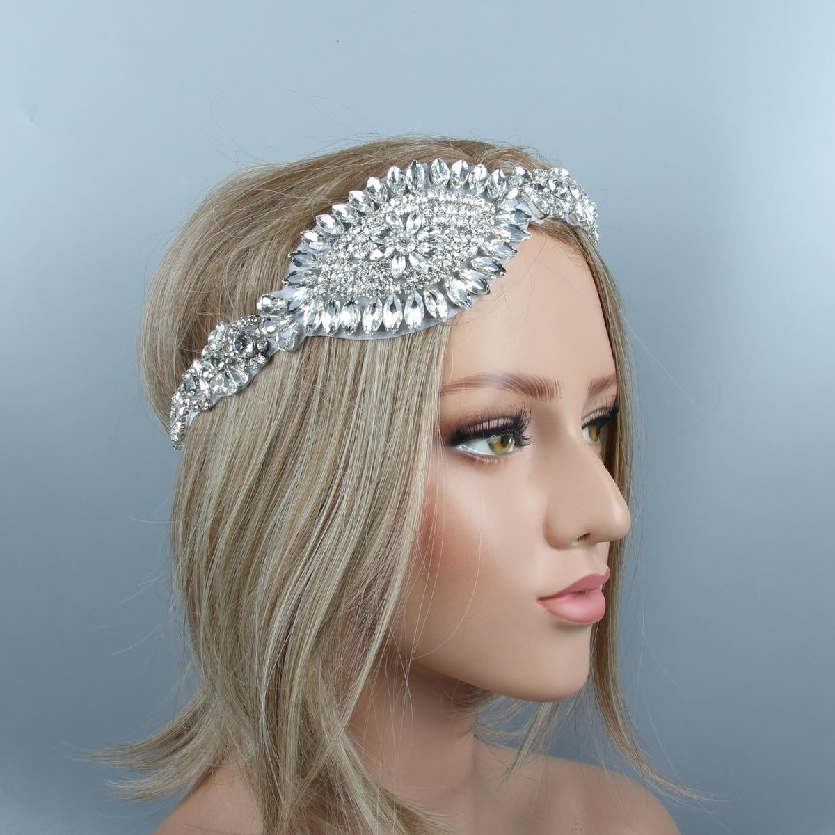 wholesale Silver Crystal Rhinestone Diamante White Bridal Bling Headpiece Headband Wedding Hair Accessories Jewelry