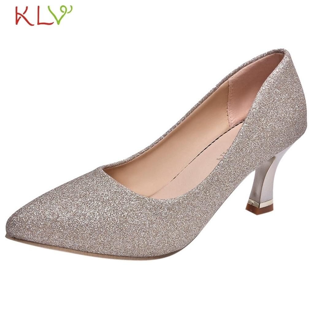 Shoes High Heels Sequin Women Sexy Pointed Toe Pumps Office Lady Party Sexy  Sapato Feminino Platform Breathable 18dec3 White Mountain Shoes Scholl Shoes  ... cb81a6cdfea
