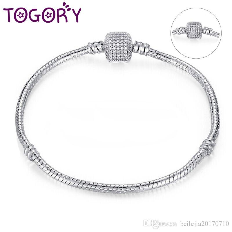 00350673147 TOGORY Dropshipping Authentic Silver Plated Snake Chain DIY Charm Bracelet  & Bangle DIY Pandora Bracelet Jewelry for Women Gift