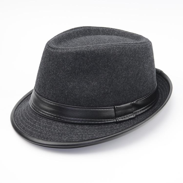 342a6c3aec9 Wool Men Outback Felt Gangster Trilby Fedora Hat With Wide Brim Jazz  Godfather Cap Szie58CM Jazz Hat Men Fedora Cap Men Wool Hat Online with   5.03 Piece on ...