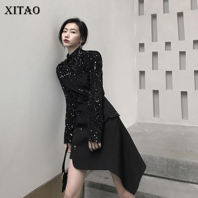 40a71dc351cb XITAO Casual Women 2019 Spring New Turtleneck Full Sleeve T Shirt Female  Solid Color Sequined Match All Slim Fit Tee DLL2789 Shop Online T Shirts T  Shirts ...