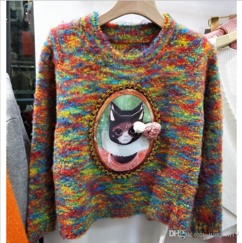 Spot real shot Bunter Mohair Mischfarbe weicher Pullover Net rote Katze Jacke Realer Schuss der Fabrik
