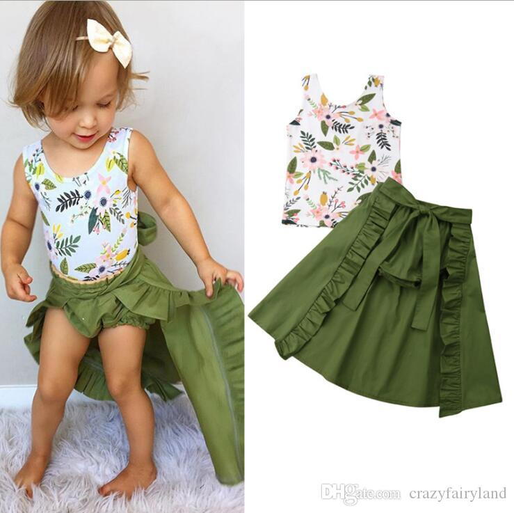 138e014c5bb6a Kids Designer Clothes Girls Clothing Outfits Set Summer Toddler Baby Girls  Floral Vest Top Shorts Dovetail Skirt Summer Outfit Clothes Set