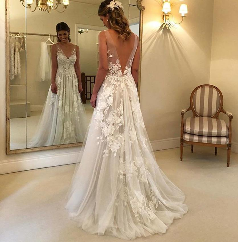 2019 Lace Wedding Dresses: Discount Beach Wedding Dresses 2019 New Design Lace