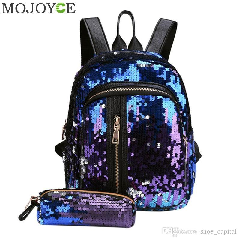 b64b7e996a5 2pcs/Set Glitter Sequins Backpack New Teenage Girls Fashion Bling Rucksack  Students School Bag with Pencil Case Clutch Mochilas #92406