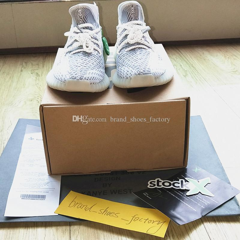 7cb2dfeee9f6 2019 Receipt+Bag+Box+Stock X Tag Kanye West 350 V2 Static Shoe Reflective  350 V2 Sneaker Designer Shoes Run Shoe Man Sneakers Woman Boot Sports Shoes  For ...