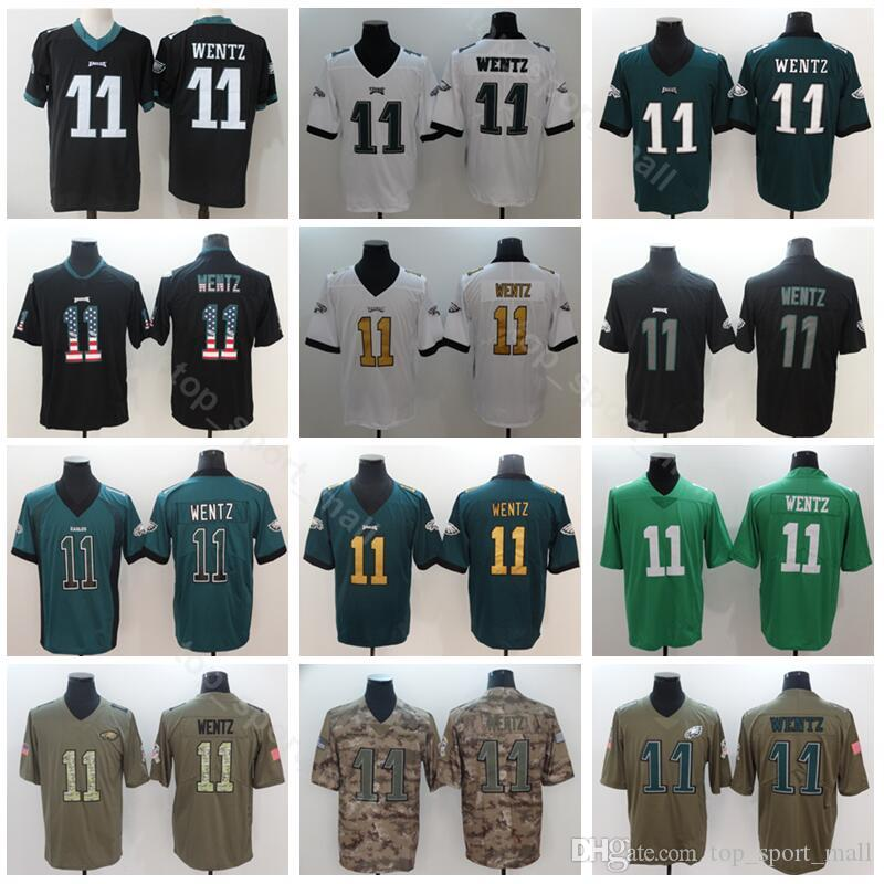 best service 0b512 bd154 Philadelphia Eagles Football 11 Carson Wentz Jersey Men Black White Green  Vapor Untouchable Salute to Service USA Flag Shadow High Quality