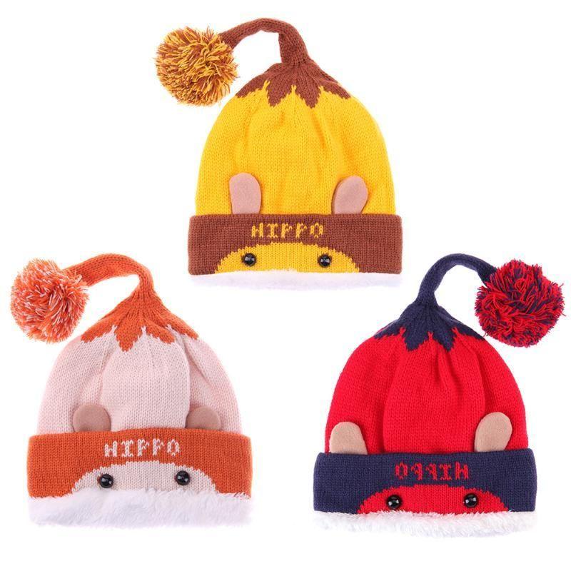 808c08ab3bd9 2019 Winter Baby Kids Warm Knitted Hat Cute Cartoon Bear Letter ...