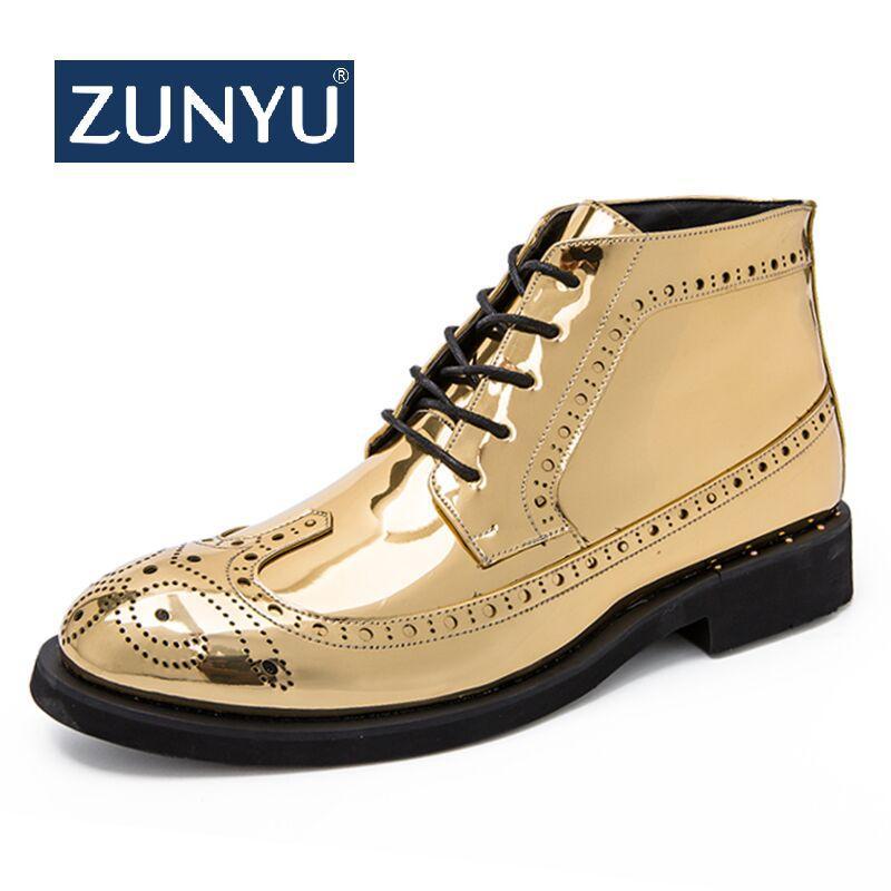 2acb78da Compre Zunyu Brillante Vestido De Hombre Botas Casuales Hombres Zapatos De  Cuero De Moda Para Hombre Oxford Flats Cómodo Hombre Vestido Botines Tamaño  38 46 ...