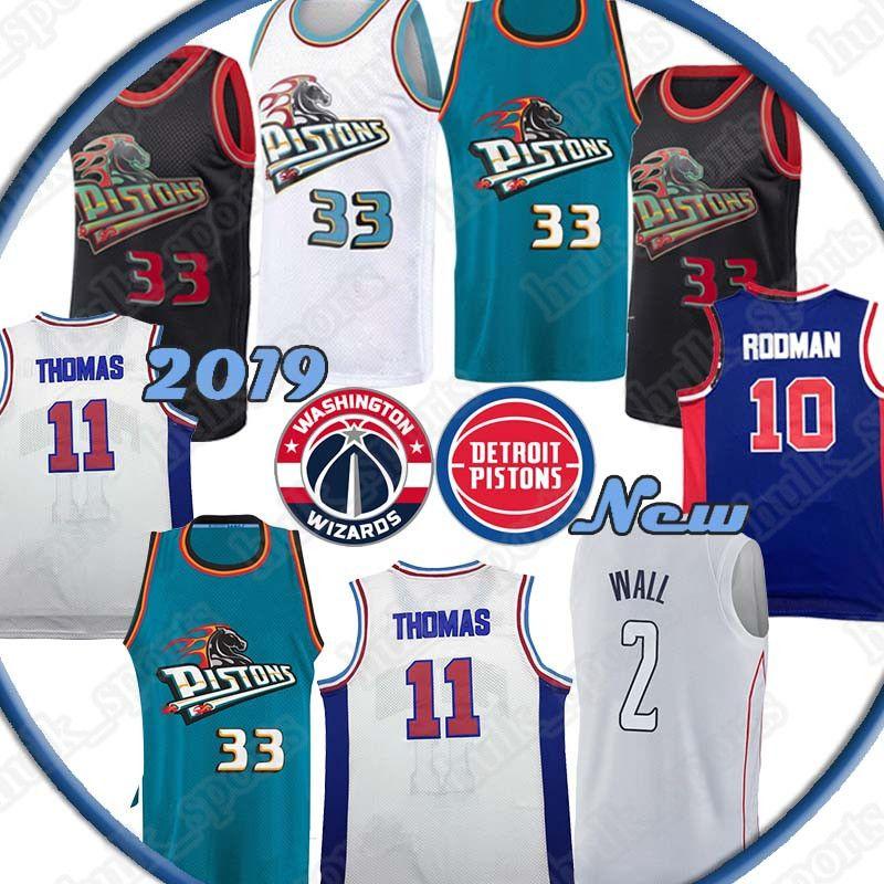 timeless design b048d 8e6fe Detroit Grant 33 Hill jersey Pistons John 2 Wall jerseys Dennis 10 Rodman  Isiah 11 Thoma Basketball Jerseys