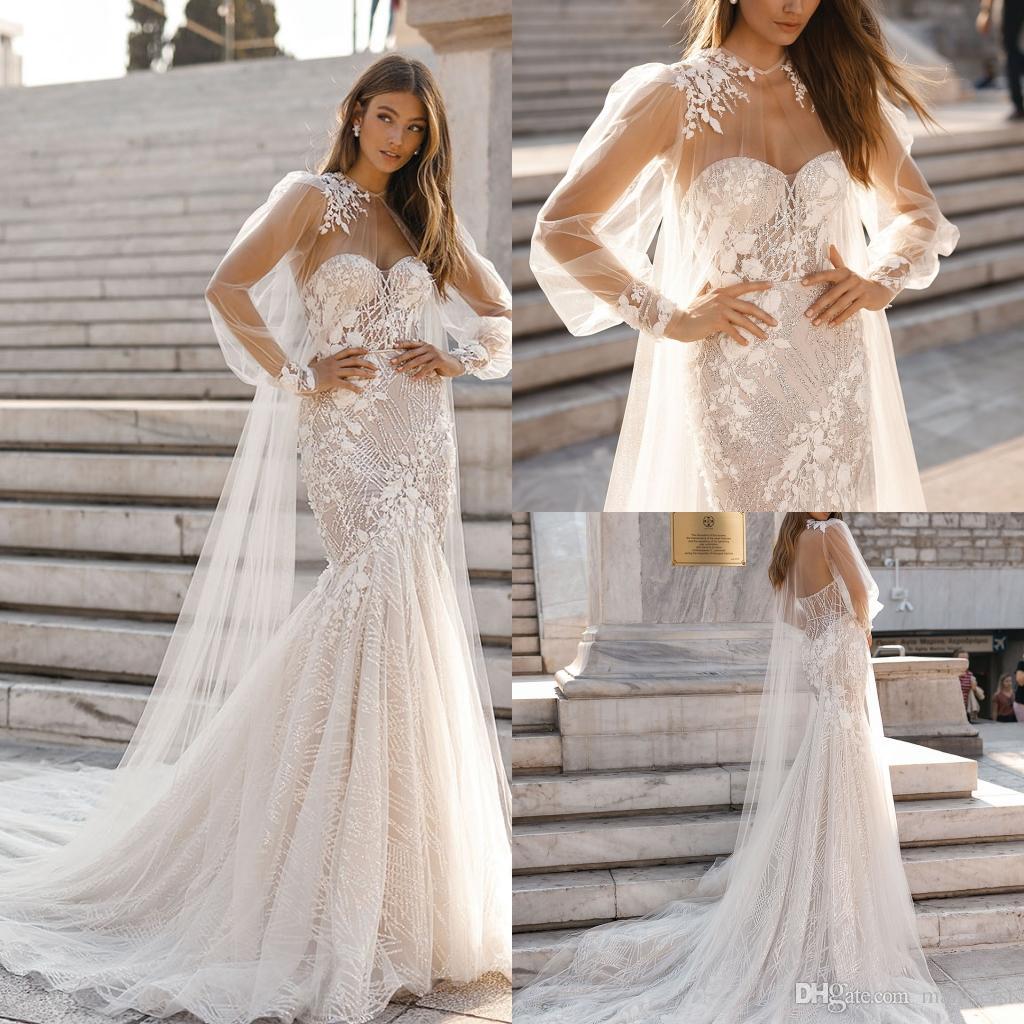 b398d40375c2 Gorgeous Berta Mermaid 2019 Wedding Dresses With Cape Beaded Sweetheart  Lace Appliqued Beach Wedding Dress Bridal Gowns Vestidos Custom Made  Colored Wedding ...