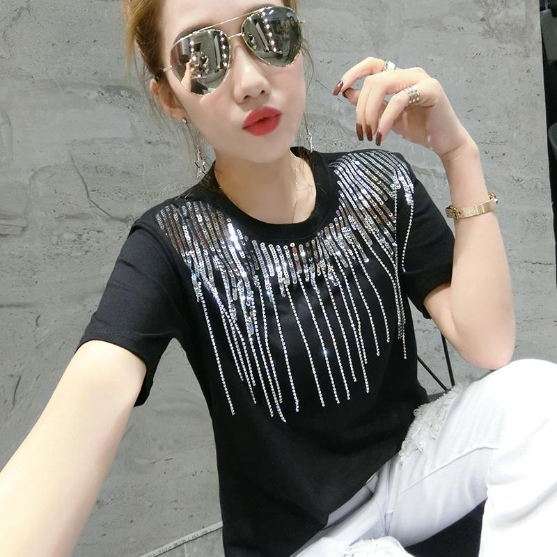 Korean Fashion Manual Bead Piece Tshirt Spring Summer O-Neck High Street Women Short Sleeve Loose T Shirts Tops Outside