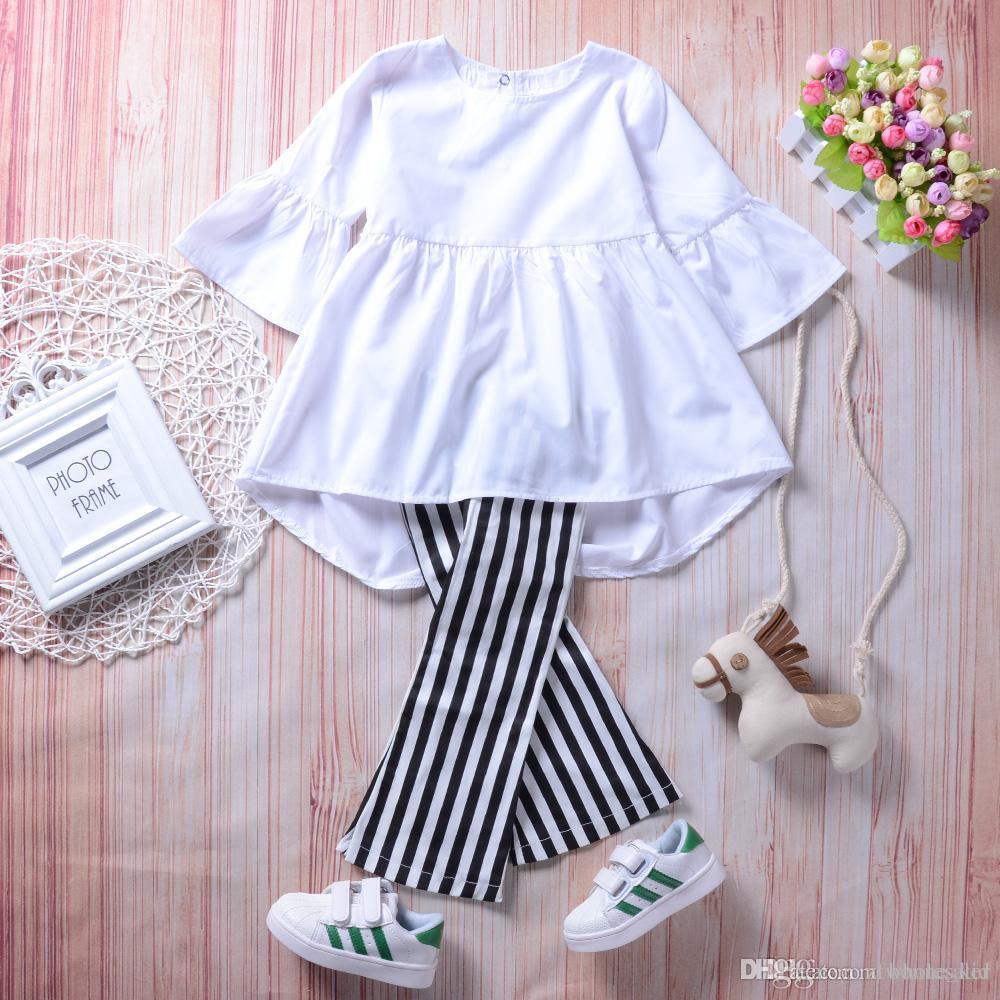 2fb53aaf4907 Spring Baby Girl Clothes Retro Outfit White Top+pants Set Striped ...