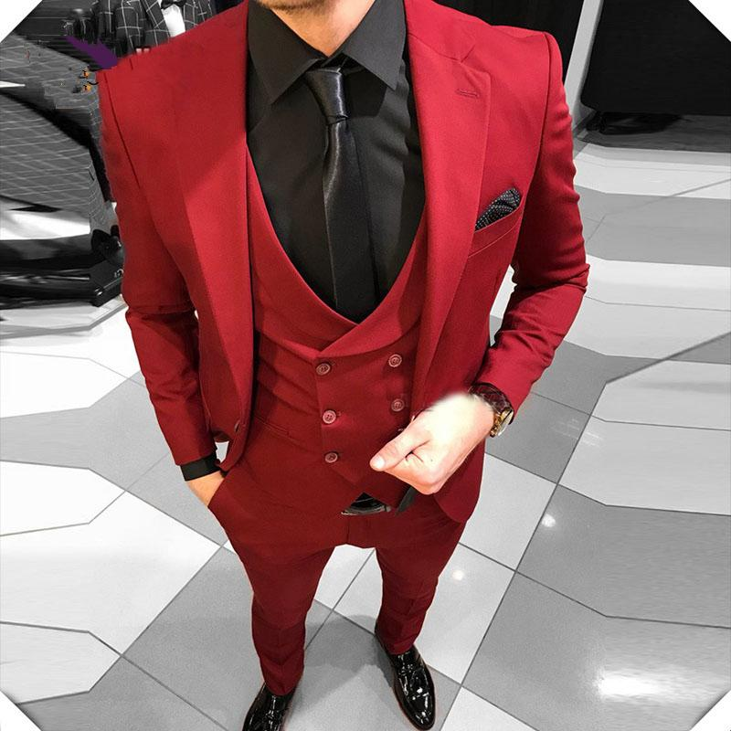 Red Wedding Groomsmen Suit Notch Lapel Groom Tuxedos One Button Men Suits for Wedding Prom Best Man Blazer ( Jacket+Pants+Vest+Tie)