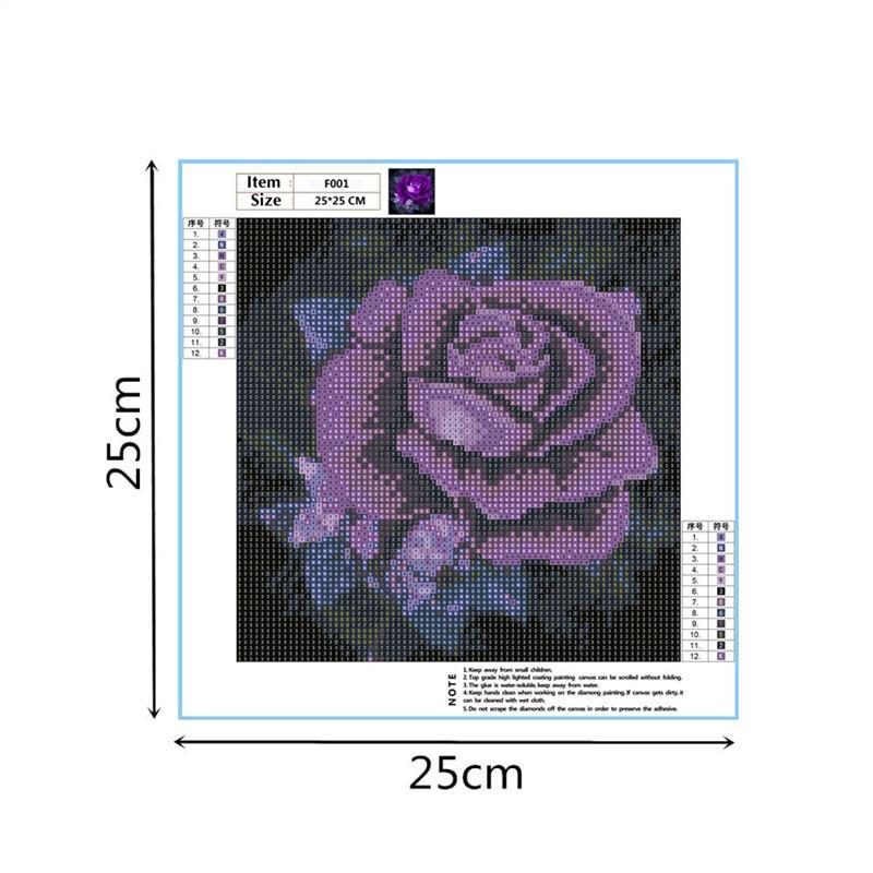5d diy diamant stickerei lila rose diamant malerei lila blume voll platz kristall strass wohnkultur kein rahmen 25 * 25 cm