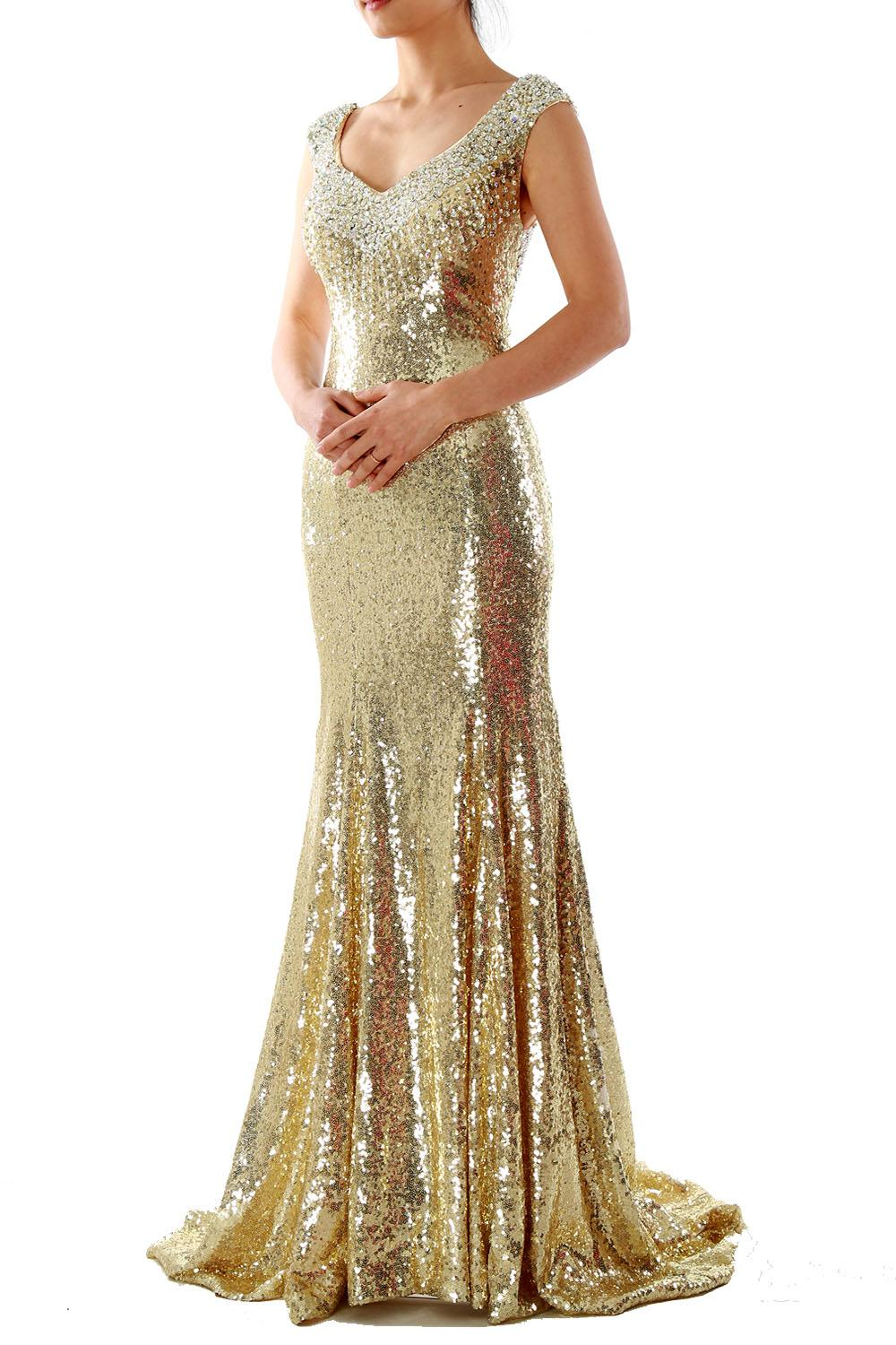 4022f83ca2ff MACloth Women V Neck Cap Sleeve Floor Length Long Mermaid Crystal Sequin  Wedding Party Dress Prom Formal Evening Gown 160139 Online with $129.01/ Piece on ...