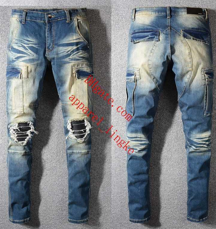 2019 skinny jeans men ripped holes jeans Motorcycle Biker Denim pants Men Brand fashion Designer Hip Hop Mens jeans pour hommes AB-17