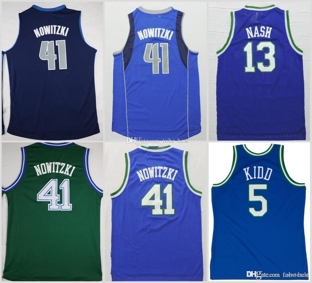 3e2134496 2019 Dallas Dirk Nowitzki 41 Mavericks Basketball Jerseys Green 5 Jason  Kidd 13 Steve Nash Blue Stitched Shirts Basketball Jersey From Tobe Best