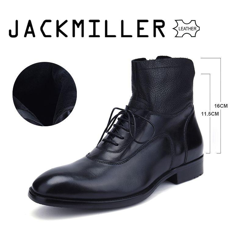 Acquista Jackmiller Good Brand Stivali Da Uomo Alla Caviglia Tacco Basso  Business Party Boot Basic Dress Stivali Uomo In Vera Pelle Nero Solido 39  45 A ... 20faef3e4ef
