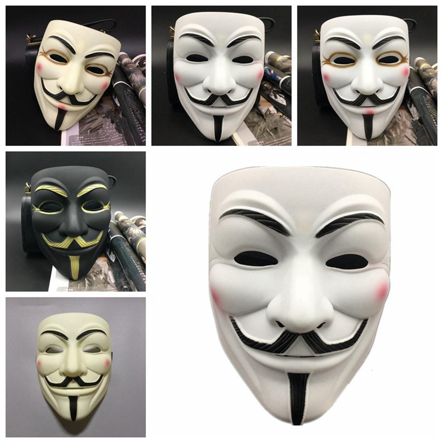 V for Vendetta Mask Male Female Party Decorations Masks Full Face Masquerade Masks Movie Props Mardi Gras Scary Horror Costume Mask RRA2021