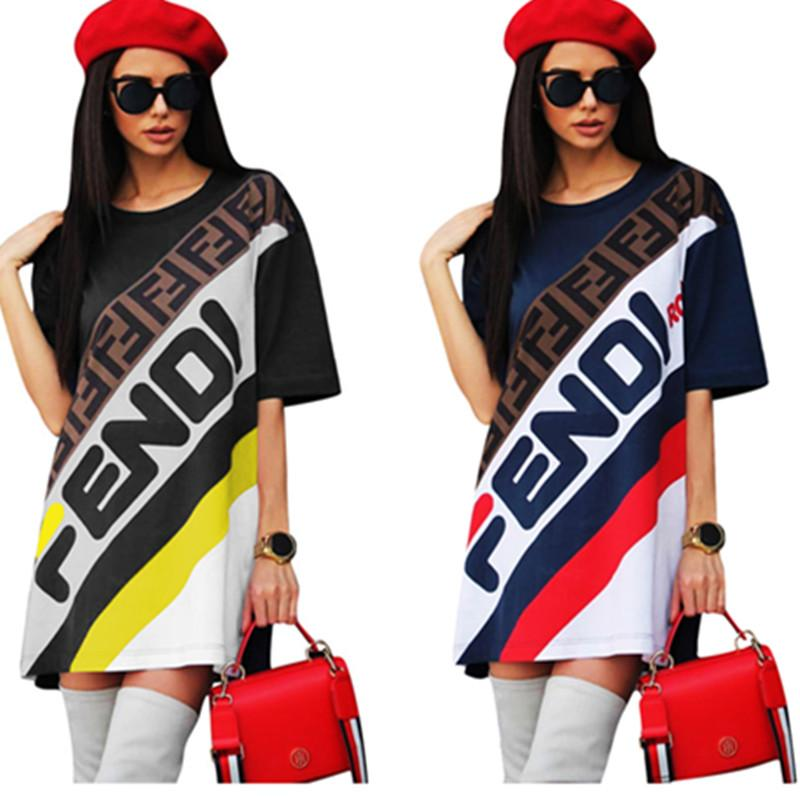 5ddc34d74e1d Women Long T Shirt Dress Sports Skirt F Letter Printed Short Sleeve ...