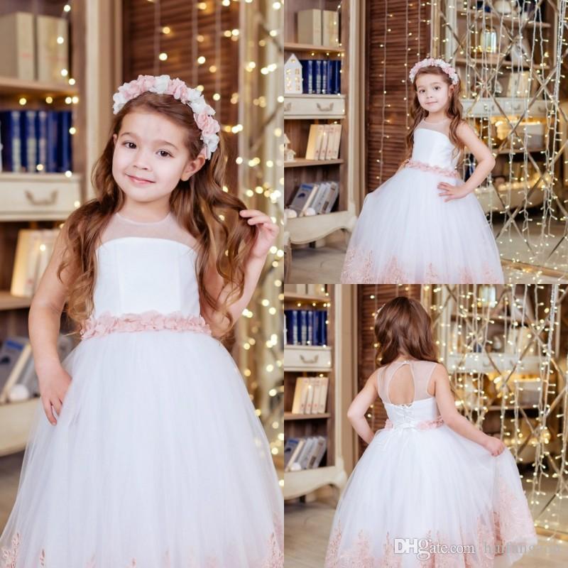 e76fe0c6ea5c4 Acheter Adorable Custom Made Robes De Fille De Fleur Pour Mariage Sans  Manches En Dentelle Appliques Florales Pageant Robes Filles Anniversaire  Robes De ...