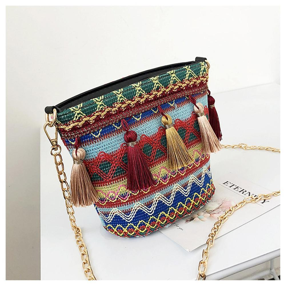 b088d2e09b7b Woven Bags Individual Ethnic National Style Chain Tassel Fashion Handbags  Beach Vacation Shoulder Messenger Straw Crossbody Bag Leather Purse Womens  Purses ...