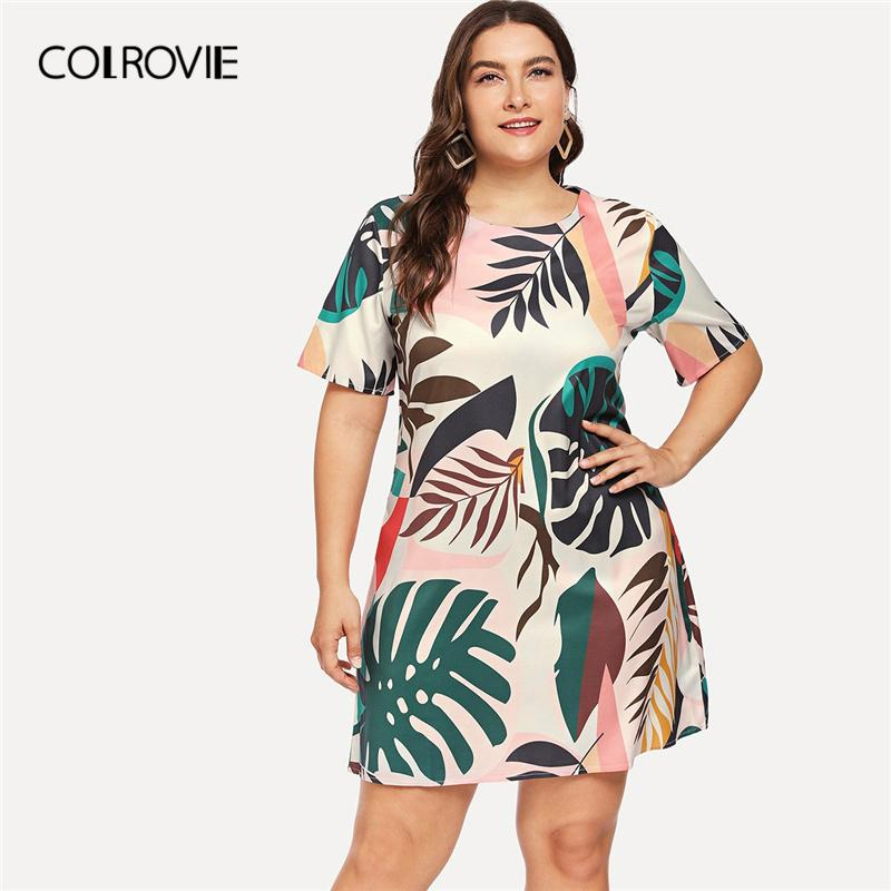 COLROVIE Plus Size Tropical Foliage Print Boho Casual Dress Women 2019  Spring Fashion Short Sleeve Elegant Dress Ladies Dresses