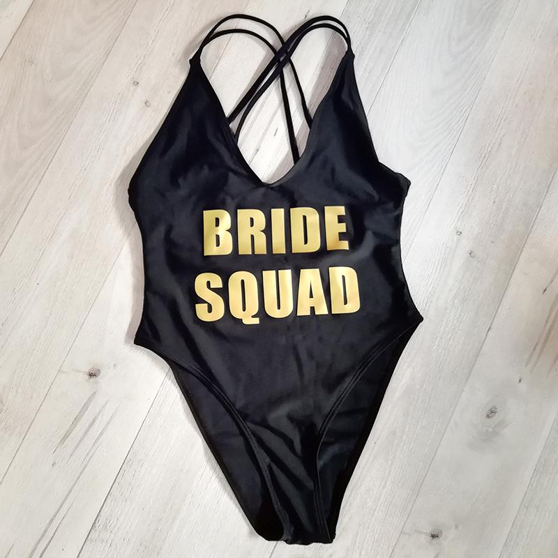 45391a766e959 2019 Bride Squad Team Letter Printing One Piece Swimsuit Back Cross ...